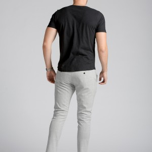 Gri Ekose Slim Fit Chino Pantolon