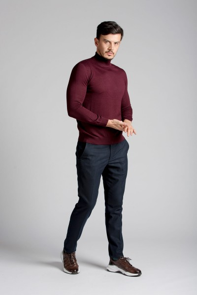 Lacivert Crop Fit Chino Pantolon