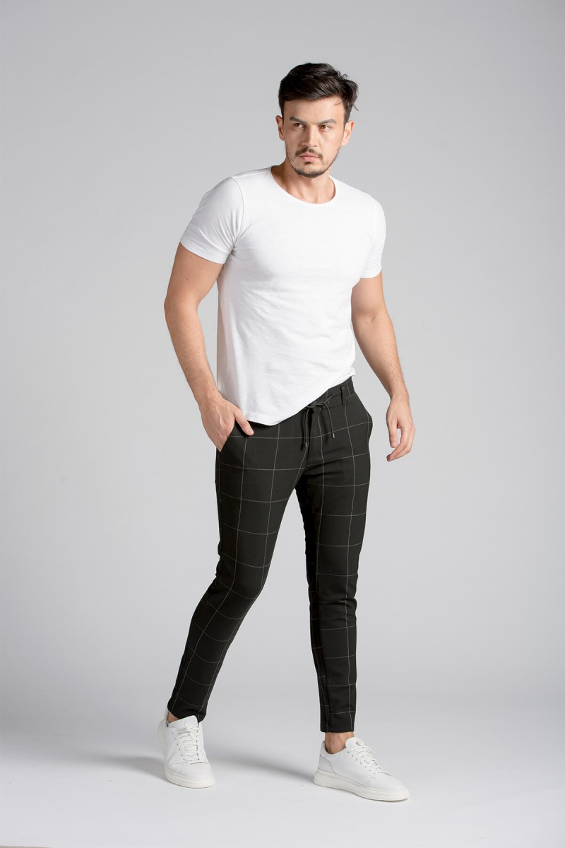 Siyah Ekose Slim Fit Chino Pantolon